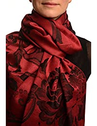 Large Black Roses On Burgundy Red Pashmina Feel With Tassels - Red Pashmina Floral Scarf