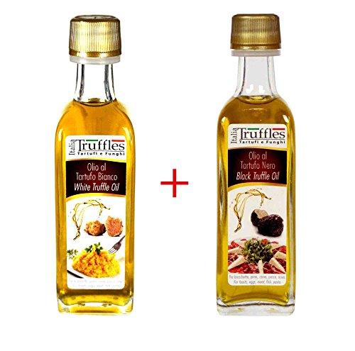 2x olio extra vergine d' oliva italiano al tartufo bianco e nero