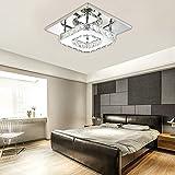 Plafoniera Lampada Cristallo Quadrata da Soffitto Moderna Lampadario in Acciaio Inox per Soggiorno Luce bianca, 12W LED