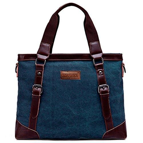 Rullar Retro Herren Umhängetasche Männer Tasche Aktentasche Aktenkoffer Kuriertasche Handtaschen Rucksack Shopper Schultertasche Arbeitstaschen für 16 Zoll Laptop Einkaufstasche Dunkelblau