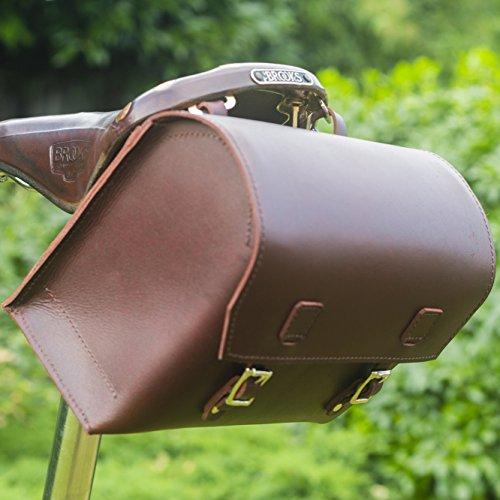 Extra Groß, aus echtem Leder Sattel/Lenker/Rahmen Fahrrad Tasche CHERRY braun 23x 19,5x 11cm