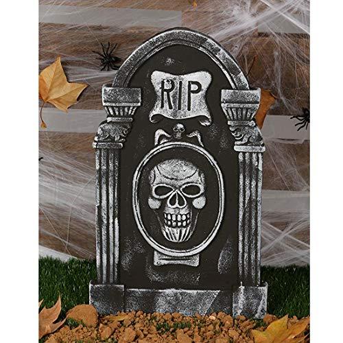 NET TOYS Gruseliger Halloween-Grabstein | 50 x 30 cm | Unheimliche Party-Dekoration Totenkopf Grabmal | Genau richtig für Horror-Party & ()