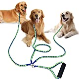 PETBABA 3 Dog Lead, 1.4m Triple Coupler with Reflective Safety at Night, Multi Way Splitter with Soft Padded Handle Protect Hands, Multiple Leash Suitable Walk Three Pet in Green-Blue