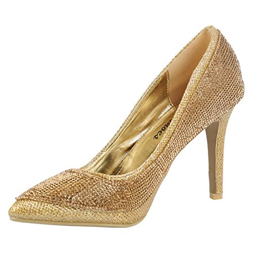 ByPublicDemand Dolly Femme Talons hauts Strass Chaussures de cour Or