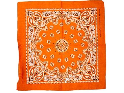 Bandana di colori e motivi diversi (BA-142) arancione multifunzione classica foulard scialle collo rocker biker motociclista motorcycle pirata accessorio hip hop cappellino cowboy bracciale