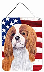 Carolines Treasures SC9115DS1216 Usa American Flag with Cavalier Spaniel Wall or Door Hanging Prints, 16 x 12, Multicolor
