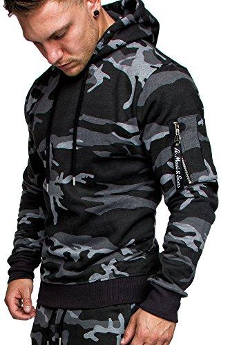 Amaci&Sons Herren Cargo-Style Pullover Sweatshirt Hoodie Sweater Camouflage 4003 Camouflage Schwarz M (Hoodie Pullover Sweatshirt)