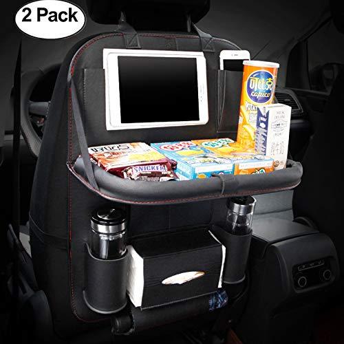 HONCENMAX 2 Pack Auto-Rückenlehnenschutz Autositz-Zurück-Organisator Faltbar Esstisch Halter Tablett Multifunktional Schutz Aufbewahrungstasche Trittmatte Reisezubehör PU-Leder
