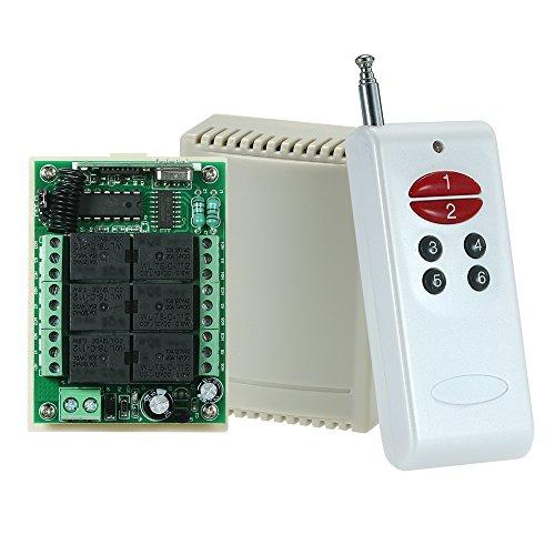 Festnight 433 MHz Wireless Fernbedienung Schalter, Universal 6 Tasten RF Sender Fernbedienung Feste Code und 10 A 6 Kanal Relaismodul Empfänger Modul DC 12V