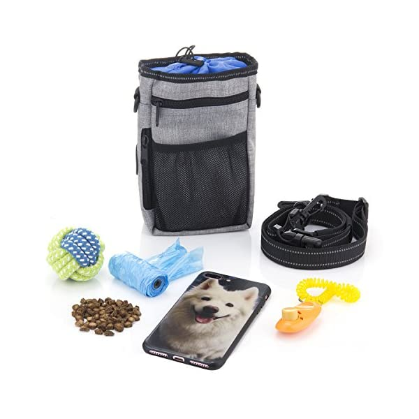 ZeWoo Dog Treat Training Pouch Bag -Collapsible Travel Food Water Dog Bowl - Free Doggie Clicker + Garbage Bag 3