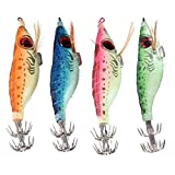 #10: 5pcs Luminous Squid Hook Umbrella Wood Shrimp Luminated Fishing Fluorescent Cuttlefish Fishhooks Sleeve Jig Fishing Lure Pesca