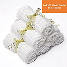 Square Muslin Baby Towels Square Wipes, 10x10-inches, 0-18 Months (White) - Pack of 5