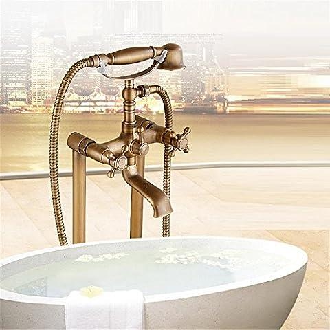 European style bathtub faucet full brass floor tub shower faucet