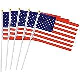 Newin Star 50pcs Bandera Mini USA Palillo Americana de Mano con Blanco Sólido Polo - Color
