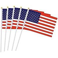 AzuNaisi 50Stk USA Stock Flagge Amerikanische Handmini Flagge mit weißen Fest Polen klarer Farbe und Fade Resistant 55 x 82 Zoll Home dekor