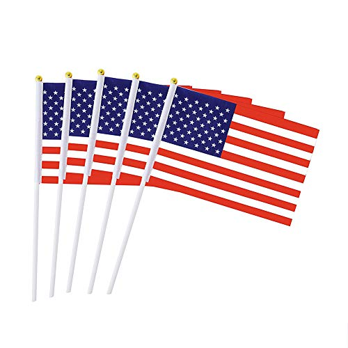 Hemore USA Handflagge 14cm * 21cm 50 / Set Weihnachten Halloween Thanksgiving Party Dekoration