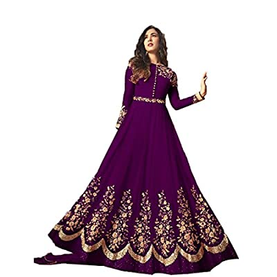 Generic Women's Georgette Semi Stitch Salwar Suit (Ethnic_ER11097_Purple_Free Size)