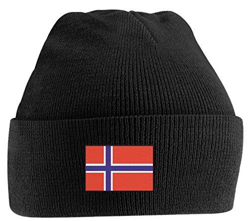 Strickmütze bestickt mit Norwegenfahne, Norwegen oder individuell gestaltbar