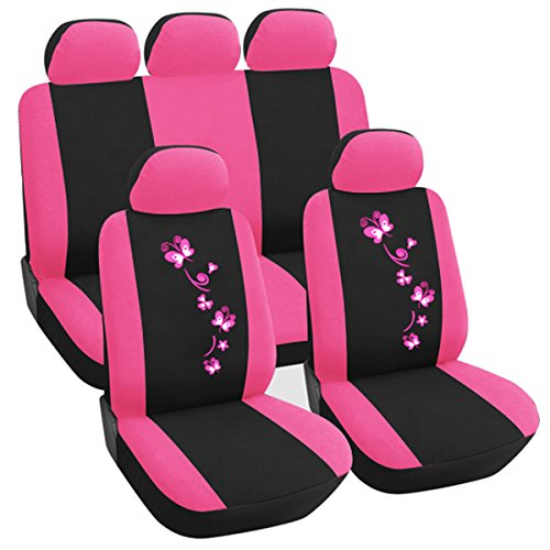 Preisvergleich Produktbild Woltu AS7252-a Auto Sitzbezug Sitzbezüge Schonbezüge Universal komplettset mit Butterfly Schwarz-Rosa