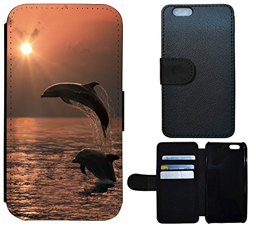 Schutz Hülle Flip Cover Handy Tasche Case Etui für (Apple iPhone 5 / 5s, 1025 Pferd Pferde Braun Weiß) 1028 Delfin Delphine Sonnenuntergang