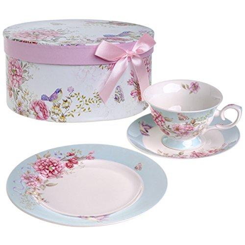 Vogel Vintage Tee (Kaffee Tee Tasse und Untertasse 19,1cm Dessertteller Set 3Shabby Chic Vintage Porzellan Vogel Schmetterling Floral Geschenk-Box, keramik, blau, 11x8cm)
