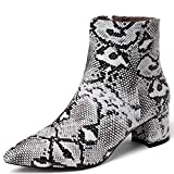 Damen Ankle Boot mit Blockabsatz Schlangenlook