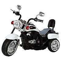 Ricco TR1501 WHITE Kids 3 Wheel Chopper Trike Motorcycle Electric Ride on Motor Bike LED Lights and Music