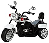 Ricco TR1501 WHITE Kids 3 Wheel Chopper Trike Motorcycle Electric Ride On Motor Bike LED Lights and Music, White