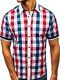 BOLF Herren Hemd Elegant Kariert Kurzarm Casual Style 8901 Rot M [2B2]