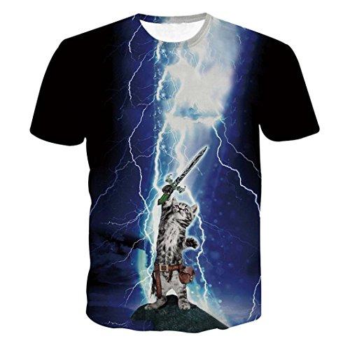 Blitz Katze 3D-Druck T-Shirt Herren, DoraMe Männer Frühling Sommer Kurzarm Bluse Lustige Jungen Hemd Mode Sportlich Top Shirts (Blau, Asien Größe L) (Hanes-sport-schuhe)