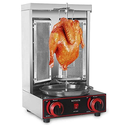 Trustme shawarma grill machine gas in acciaio inossidabile doner kebab verticale rotante grill barbecue grill macchina a gas senza fumo