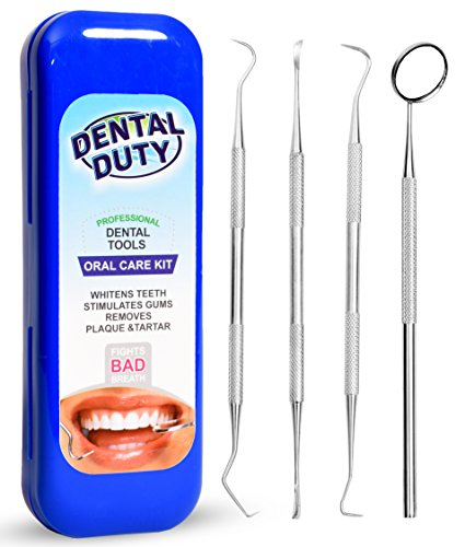 Dental Hygiene Kit For Home Use - Calculus & Plaque Remover Set - Stainless Steel Tarter Scraper, Dental Pick, Dental Scaler, Toothpick And Mouth Mirror -Deep Teeth Cleaning Tools to Maintain High Oral Care - Tools used by Dentist - Anti Bacterial Protective Case Included with All Orders.
