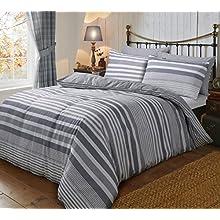 Sleepdown Flannel Stripe Grey Reversible Soft Duvet Cover Quilt Bedding Set With Pillowcases - King (220cm x 230cm)