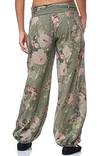 JillyMode Wunderschöne Leichte Haremshose aus Baumwolle in Viele Muster Gr.34-Gr.42 OneSize (H132-Khakigrün) - 3
