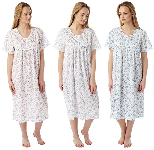 Ladies Marlon Poly Cotton Short Sleeve Nightdress Nightie MN11 Size 10-30 - 517e8IhiJ7L - Ladies Marlon Poly Cotton Short Sleeve Nightdress Nightie MN11 Size 10-30