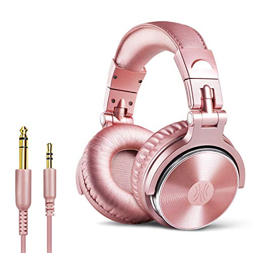 OneOdio DJ Kopfhörer Over Ear mit Kabel Geschlossener Studio Kopfhörer mit Mic, Adapter-Frei Studiokopfhörer mit Share Port Stereo Headphones in Rosa für Podcast, Recording, Monitoring