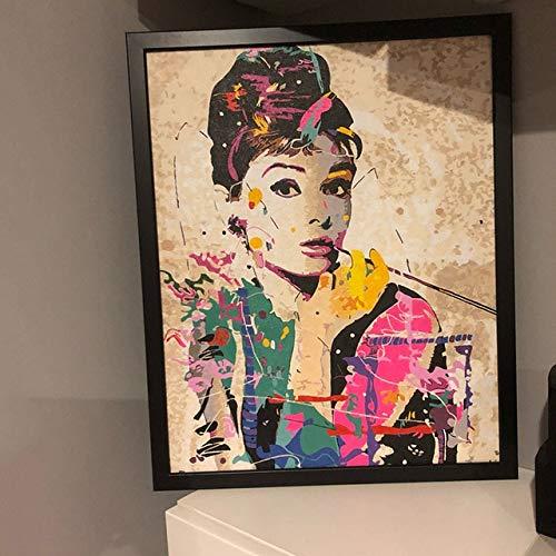 Rahmenlose Wanddekoration Bilder Malen Nach Zahlen Handgemalt Auf Leinwand Gemälde Audrey Hepburn Modernes Abstraktes Ölgemälde 40X50Cm Geschenk