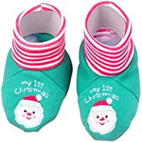 Toyvian Zapatos de algodón navideños de bebé Botas de Invierno Botas de bebé Bordadas para bebés 0-12 Meses Estilo A (Verde)