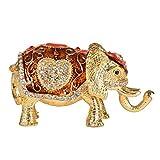 micg Elefant Treassure Schmuckkästchen Tier Figur zum Sammeln Hochzeit Schmuck Ring Holder Organizer, Legierung, Rot / Gold, 3.9*2.2*0.8Inch