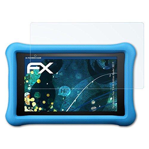 atFolix Schutzfolie kompatibel mit Amazn F¡re 7 Kids Edition Model 2017 Panzerfolie, ultraklare und stoßdämpfende FX Folie (2X)