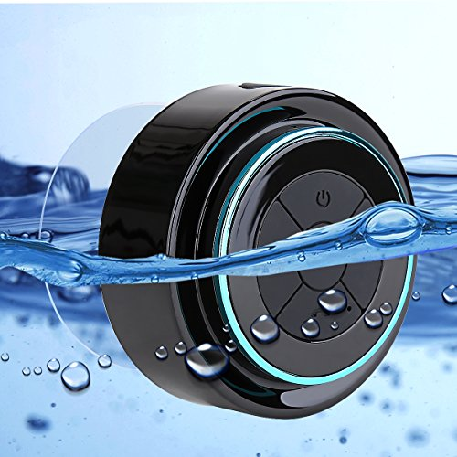 Guzack Altavoz Bluetooth Ducha, Waterproof Bluetooth 3.0 Speaker with FM Radio, Copa de succión dedicada, Mic incorporado, Hands-Free Speakerphone Para HuaWei, XiaoMi, Nexus, HTC, iPhone y iPad, etc.