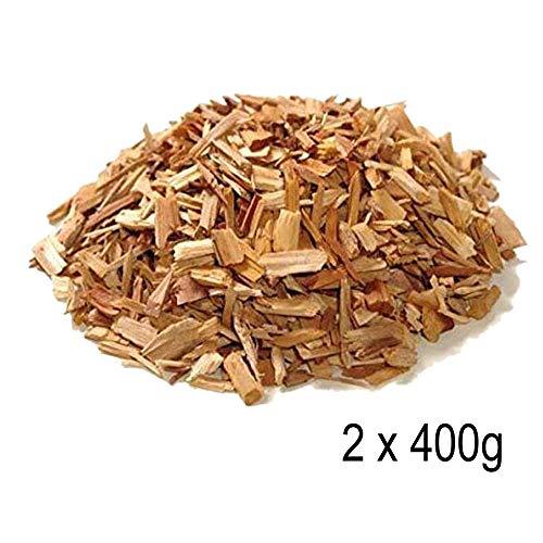 BBQ Premium Blend Räucherspäne Hickory Holz Aroma Enhancer - 100% natürliche Hartholzspäne perfekt für Hühner, Fisch, Schwein, Lamm, Rindfleisch & Wildfleisch - Rich Smokey Geschmack 2 x 400 g -