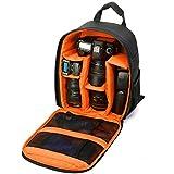 Borsa Fotografica, LinLang Tracolla Multifunzionale di Viaggio di Nylon di Viaggio Dello Zaino di Nylon Multifunzionale per DSLR Canon Nikon Sony EOS Olympus Samsung Pentax SLR 33 * 12.5 * 26.5 (Arancio Nero) CP002