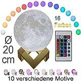 3D Mond Lampe 20cm mit Fernbedienung, Motiv 3D Mond, erhältlich in Ø 15 oder 20cm, 16 Farben. 10 verschiedene Motive, dimmbar, viele Funktionen, deutsche Bedienungsanleitung. Mondlampe Mondleuchte,