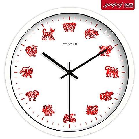 XB.T Regalos de Navidad regalos de Halloween 12 Animales del Salón Creativa grandes relojes modernos dormitorio silencio Decoración minimalista reloj de cuarzo colgando el Cuadro 14 , pulgadas caja blanca de