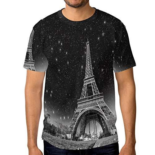 T-Shirt für Männer Jungen Romantische Sternenhimmel Eiffelturm Benutzerdefinierte Kurzarm (Tröster Eiffelturm)