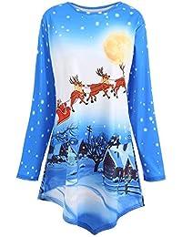 VJGOAL Mujeres Otoño e Invierno Moda Casual de Navidad Elk Imprimir Encaje Empalme Manga Larga Irregular Dobladillo Redondo Top Camisa Superior