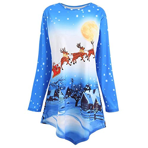 TEBAISE Damen Weihnachten Pullover Christmas Weihnachtsmann Gedruckt Spitze Bluse Xmas Langarmshirt Asymmetrisch T Shirt Tops Oberteile Festlich Kostüm Weihnachten Pullover Damen Pulli