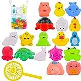 Juguete Baño Bebe,Juguetes Animados con Sonidos Toy Diverdidos Lindos para Agua Piscina Baño,Goma Flotante Floating Baby Bath Toys con baño Sucker Mesh Bolsa de Almacenamiento para bebés o niños