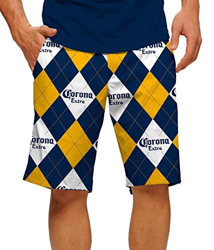 Loudmouth Golf Herren Shorts aus 100% StretchTech Polyester - lustige Bunte Biershorts Corona Argyle StretchTech, Herren, Mehrfarbig, 34 (Argyle Stoff)